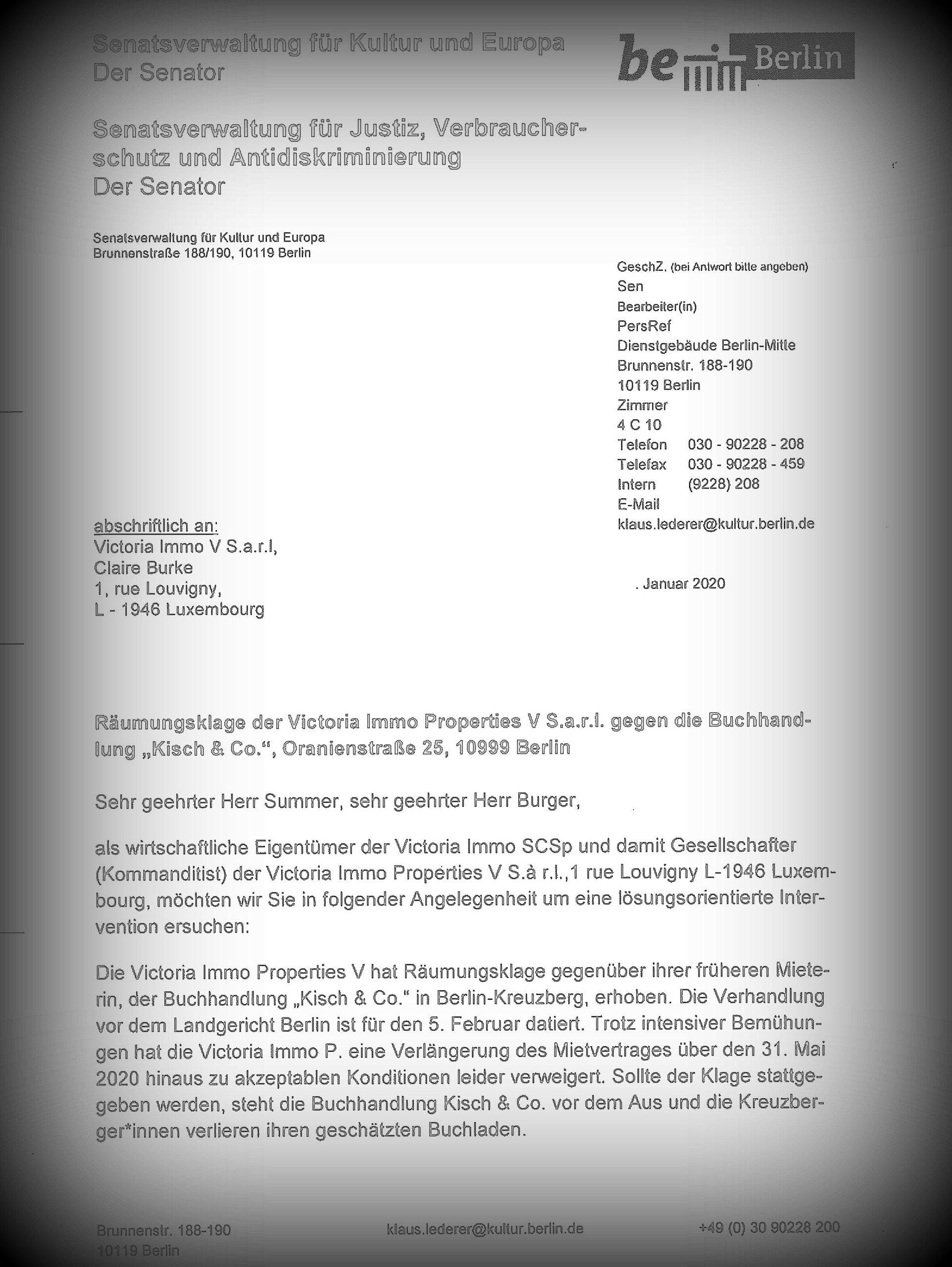 Pressemitteilung des Bündnis #Volle Breitseite für die Oranienstr. 25 – Offener Senatorenbrief an Victoria Immo Properties – Räumungsprozess verschoben